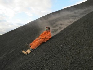 Me boarding down the side of the volcano