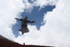 Jumping for Joy at the top of Cotopaxi volcano at the prospect of what life will bring next!