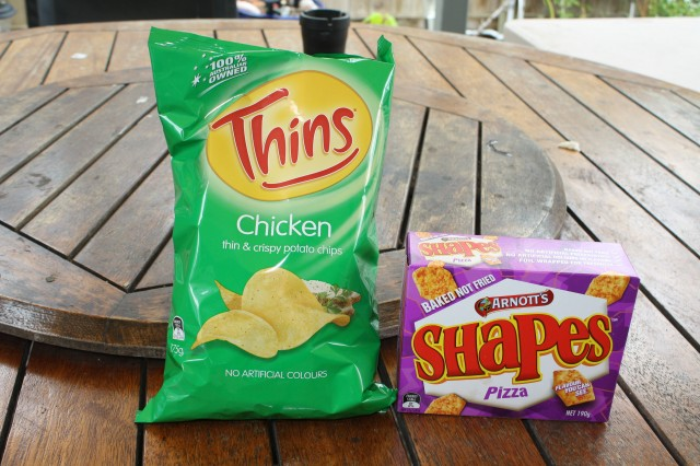 My 2 favorite Aussie snacks, Pizza Shapes biscuits and chicken flavored chips