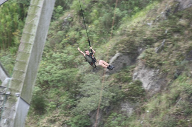 Me after bridge jump in Banos Ecuador
