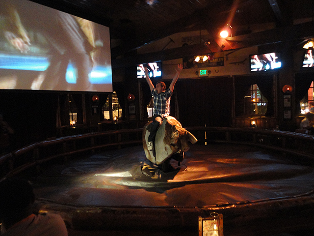 Riding a bucking bull on first night in LA